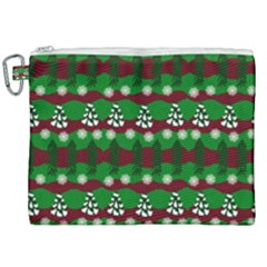 Snow Trees and Stripes Canvas Cosmetic Bag (XXL)