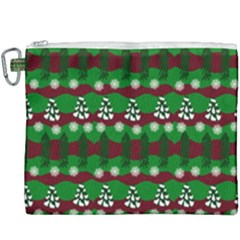 Snow Trees and Stripes Canvas Cosmetic Bag (XXXL)