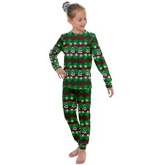 Snow Trees and Stripes Kids  Long Sleeve Set