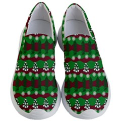 Snow Trees and Stripes Women s Lightweight Slip Ons