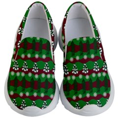 Snow Trees and Stripes Kids  Lightweight Slip Ons