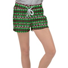 Snow Trees and Stripes Women s Velour Lounge Shorts