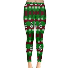 Snow Trees and Stripes Inside Out Leggings