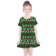 Snow Trees and Stripes Kids  Simple Cotton Dress