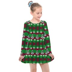 Snow Trees and Stripes Kids  Long Sleeve Dress