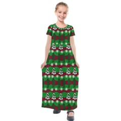 Snow Trees and Stripes Kids  Short Sleeve Maxi Dress
