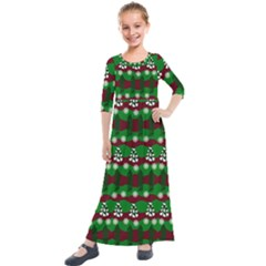 Snow Trees and Stripes Kids  Quarter Sleeve Maxi Dress