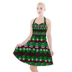 Snow Trees and Stripes Halter Party Swing Dress