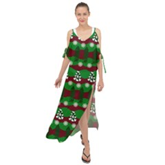 Snow Trees and Stripes Maxi Chiffon Cover Up Dress