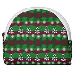 Snow Trees and Stripes Horseshoe Style Canvas Pouch