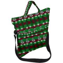 Snow Trees and Stripes Fold Over Handle Tote Bag