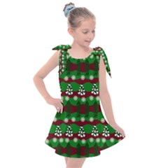Snow Trees and Stripes Kids  Tie Up Tunic Dress