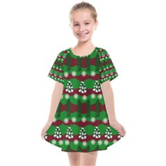 Snow Trees and Stripes Kids  Smock Dress