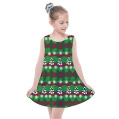 Snow Trees and Stripes Kids  Summer Dress
