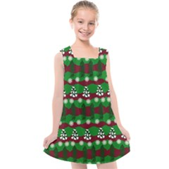 Snow Trees and Stripes Kids  Cross Back Dress
