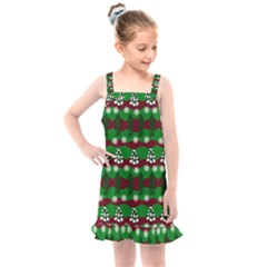 Snow Trees and Stripes Kids  Overall Dress