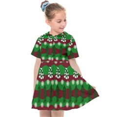 Snow Trees and Stripes Kids  Sailor Dress