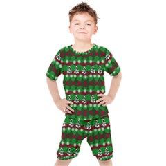 Snow Trees and Stripes Kids  Tee and Shorts Set