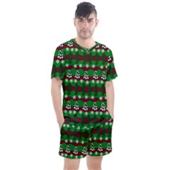 Snow Trees and Stripes Men s Mesh Tee and Shorts Set