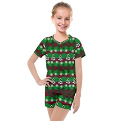 Snow Trees and Stripes Kids  Mesh Tee and Shorts Set