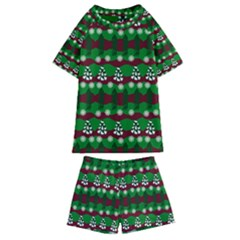 Snow Trees and Stripes Kids  Swim Tee and Shorts Set