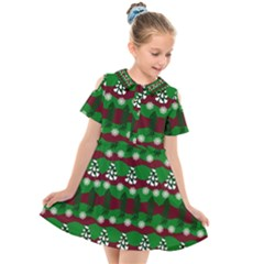 Snow Trees and Stripes Kids  Short Sleeve Shirt Dress