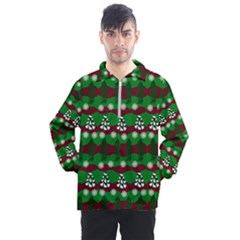 Snow Trees and Stripes Men s Half Zip Pullover