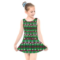 Snow Trees and Stripes Kids  Skater Dress Swimsuit