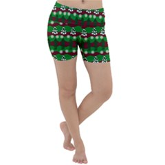 Snow Trees and Stripes Lightweight Velour Yoga Shorts