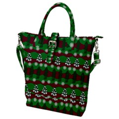 Snow Trees and Stripes Buckle Top Tote Bag