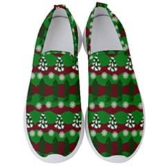 Snow Trees and Stripes Men s Slip On Sneakers