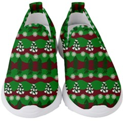 Snow Trees and Stripes Kids  Slip On Sneakers