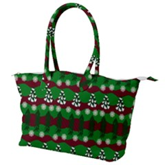 Snow Trees and Stripes Canvas Shoulder Bag