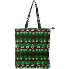 Snow Trees and Stripes Double Zip Up Tote Bag