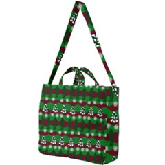 Snow Trees and Stripes Square Shoulder Tote Bag