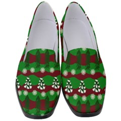 Snow Trees and Stripes Women s Classic Loafer Heels
