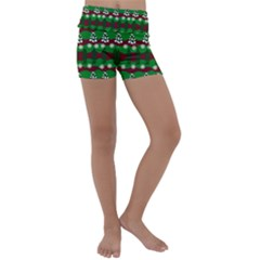 Snow Trees and Stripes Kids  Lightweight Velour Yoga Shorts