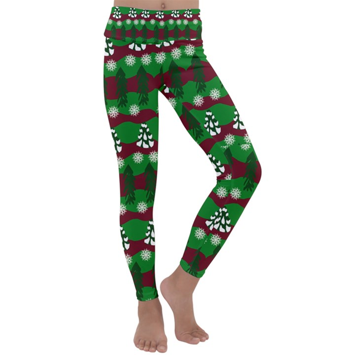 Snow Trees and Stripes Kids  Lightweight Velour Classic Yoga Leggings