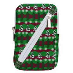 Snow Trees and Stripes Belt Pouch Bag (Large)