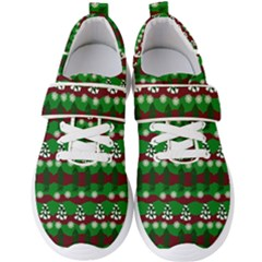 Snow Trees and Stripes Men s Velcro Strap Shoes
