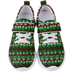 Snow Trees and Stripes Women s Velcro Strap Shoes