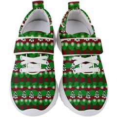 Snow Trees and Stripes Kids  Velcro Strap Shoes