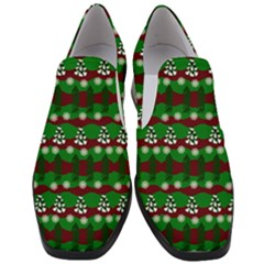 Snow Trees and Stripes Women Slip On Heel Loafers