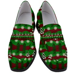 Snow Trees and Stripes Women s Chunky Heel Loafers