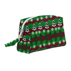 Snow Trees and Stripes Wristlet Pouch Bag (Medium)
