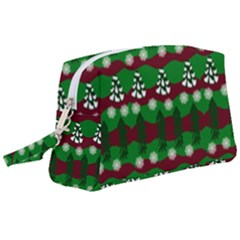 Snow Trees and Stripes Wristlet Pouch Bag (Large)