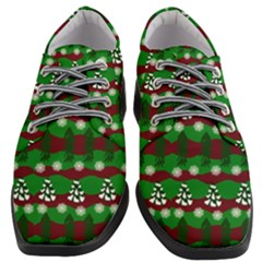 Snow Trees and Stripes Women Heeled Oxford Shoes