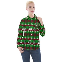 Snow Trees and Stripes Women s Long Sleeve Pocket Shirt
