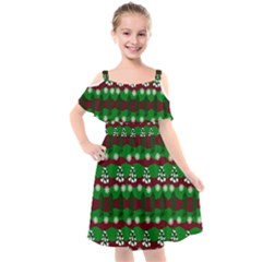 Snow Trees and Stripes Kids  Cut Out Shoulders Chiffon Dress
