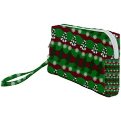 Snow Trees and Stripes Wristlet Pouch Bag (Small)